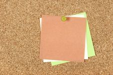 Colorful Post-it Notes Pinned To Corkboard Royalty Free Stock Photography