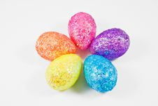 Colorful Eggs Arranged As Flower Petals Royalty Free Stock Image