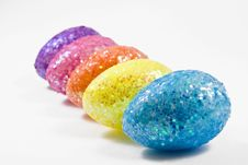 Colorful Eggs In A Row Royalty Free Stock Photography