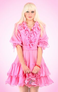 Free Blonde In A Pink Dress Royalty Free Stock Photos - 8543158