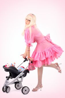 Free Blonde In A Pink Dress Royalty Free Stock Photo - 8543165