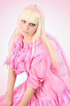 Free Blonde In A Pink Dress Royalty Free Stock Image - 8543166