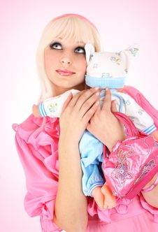 Free Blonde In A Pink Dress Stock Image - 8543171