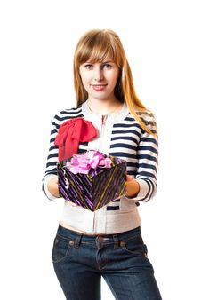 Free The Girl With A Gift Stock Photos - 8545933