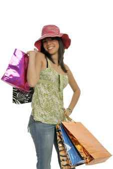 Free Smiling Shopping Girl Royalty Free Stock Image - 8546096