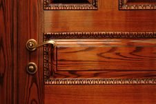 Door Handle On The Wooden Door Royalty Free Stock Photography