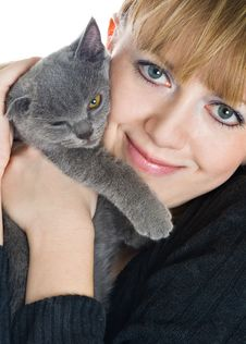 Free The Young Girl And  Kitten Royalty Free Stock Image - 8546626