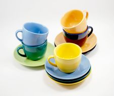 Free Color Cups And Saucers Royalty Free Stock Photos - 8546808