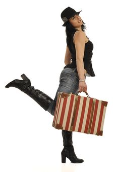 Free Lady With Suitcase Royalty Free Stock Image - 8546826