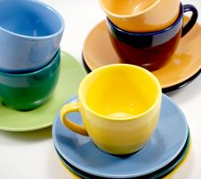 Free Color Cups And Saucers Royalty Free Stock Image - 8546856