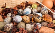 Eggs Display In Straw Basket Stock Photo