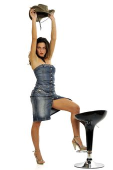 Cow-girl Pinup Model Stock Images
