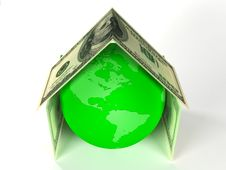 Free Globe Of Earth Inside House Made By Dollars Royalty Free Stock Photo - 8549045