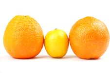 Free Two Orange Oranges And One Yellow Lemon Stock Image - 8549651