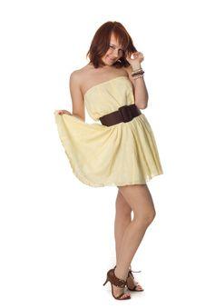 Beautiful Woman In Beige Dress Stock Photography