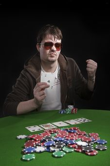 Man Playing Poker Stock Photography