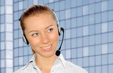 Free Woman Wearing Headset In Office;could Be Reception Stock Images - 8549974