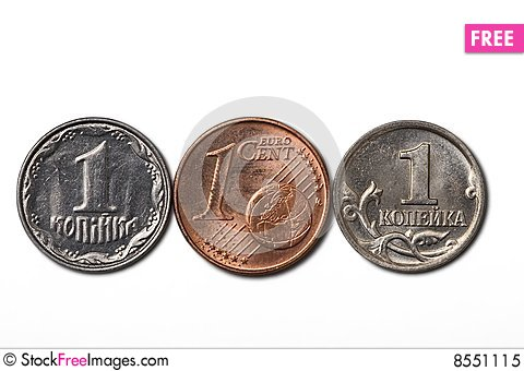 3 cheapest coins Stock Photo