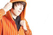 Free Teenage Boy In Orange Hoodie Stock Images - 8550444