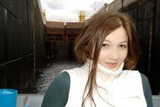 Free Girl At Shipping Lock Chamber Stock Image - 8550651