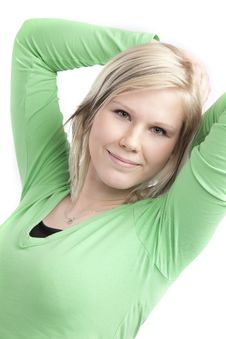 Free Cute Teenage Girl In Green Shirt Royalty Free Stock Photo - 8550655