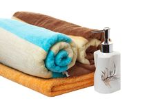 Free Finest Towels And Soap Dish. Royalty Free Stock Photos - 8551298