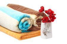 Free Porcelain Vase,floweres Of Poppy And Towels. Royalty Free Stock Image - 8551346