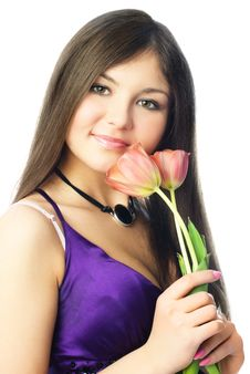 Free Pretty Woman With Tulips Royalty Free Stock Images - 8551419
