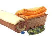 Towels With Wonderful Stones Stock Photo