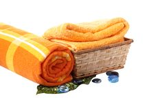 Towels With Wonderful Stones. Royalty Free Stock Photography