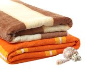 Two Towels And Seashells. Royalty Free Stock Photography