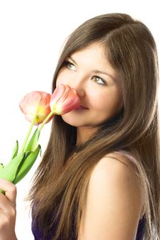 Free Pretty Girl Smelling Tulips Royalty Free Stock Images - 8551619