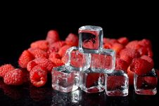 Free Ice Cubes Nad Raspberries Royalty Free Stock Photography - 8552607