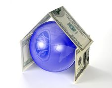 Free Globe Of Earth Inside House Made By Dollars Stock Images - 8553244