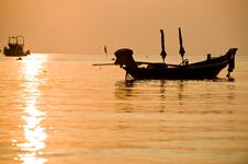 Boats Silhouette The Sea With Perfect Sunset Stock Images