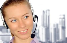 Free Woman Wearing Headset In Office;could Be Reception Stock Photography - 8554042
