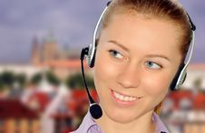 Free Woman Wearing Headset In Office;could Be Reception Stock Photography - 8554062