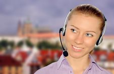 Free Woman Wearing Headset In Office;could Be Reception Royalty Free Stock Photos - 8554068