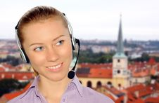 Free Woman Wearing Headset In Office;could Be Reception Stock Images - 8554084
