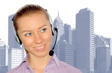 Free Woman Wearing Headset In Office;could Be Reception Royalty Free Stock Photography - 8554097