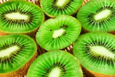 Free Fresh Kiwi Slices On A Bamboo Mat-2 Stock Image - 8554131
