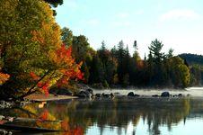 Free Sheltered Lake Shore At Sunrise Stock Image - 8554571