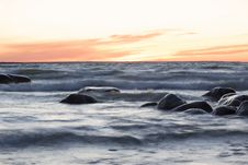 Free Sea At Sunset Royalty Free Stock Photography - 8555487