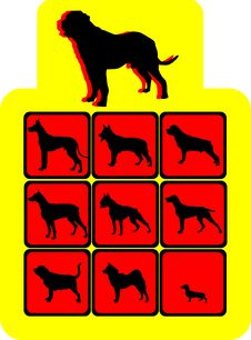 Free Set Silhouette Dogs Royalty Free Stock Photography - 8555787
