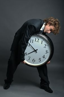 Free Businessman With Clock Stock Photo - 8556600