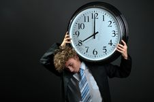 Free Businessman With Clock Stock Image - 8556601