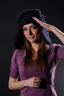 Free Woman In A Fancy Russian Hat Stock Image - 8557271