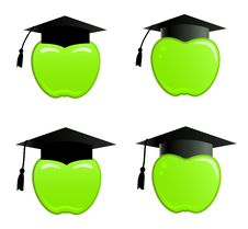 Apple In Graduation Cap Royalty Free Stock Photography