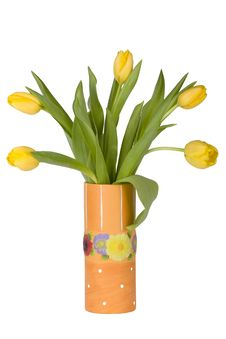 Free Yellow Tulips In Orange Vase Stock Image - 8558821
