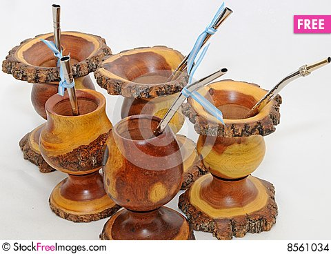 Argentina Mate yerba cups and bombillas Stock Photo